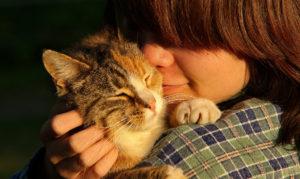 girl holding cat